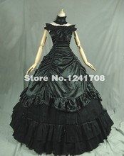 2017 Black Satins Boat Neck Sleeveless Floor-Length Long Prom Dresses Victorian Gothic Dress Ball Gown For Party