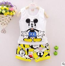 2016 Baby Boy Clothing Set Sleeveless Shirt + Shorts Kid Clothing Set Mickey Pattern Children Clothing Set Vest Summer Style