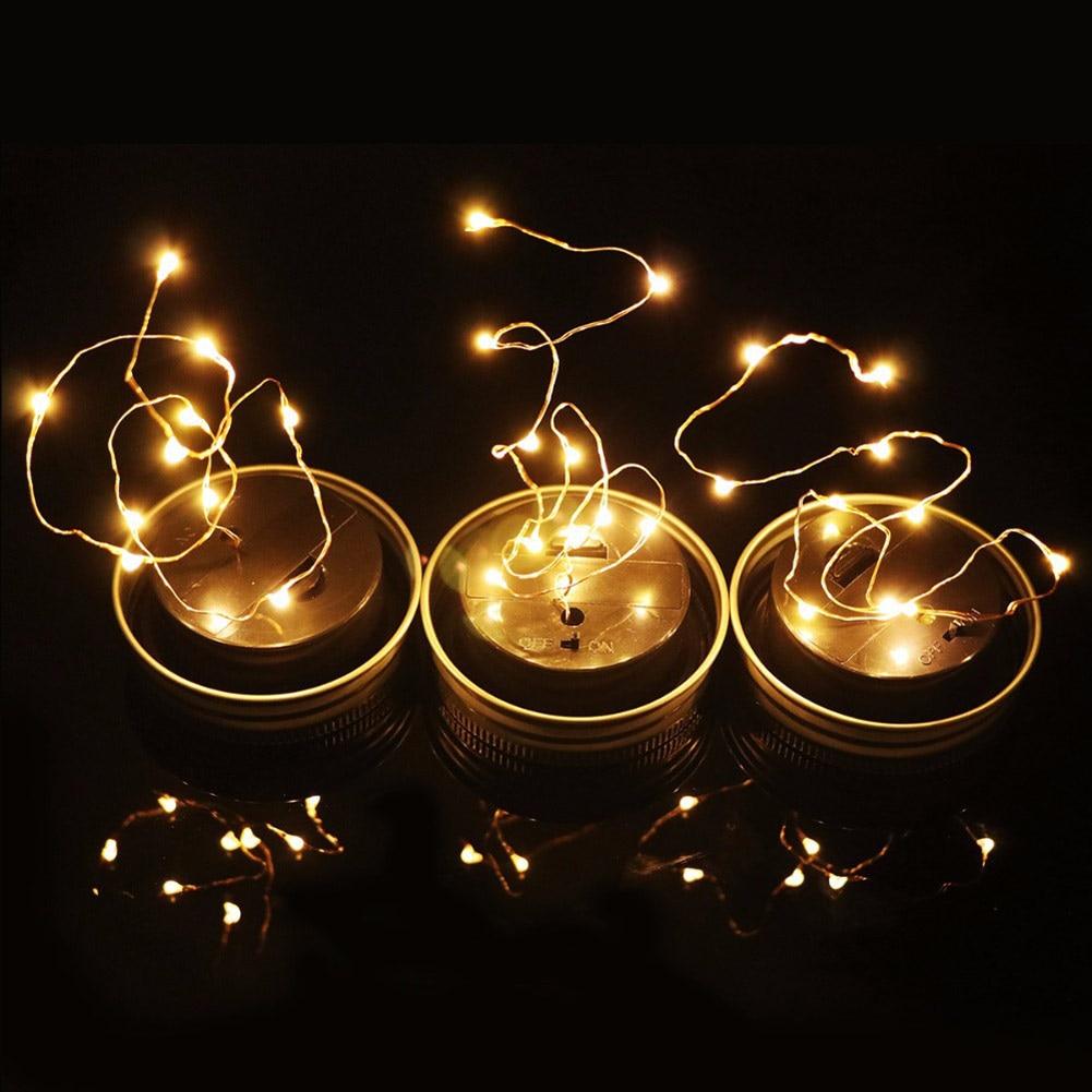 1Pc 3Pcs Portable Waterproof Solar LED Mason Jar Cap Fairy Light String Strip Lamp DIY Party Decor white/warm white/colour
