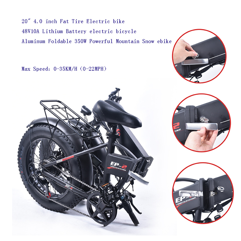 "Electric Bike 20 ""4.0 Fat Tire Bike Aluminium Foldable Electric Bike 48v12a Lithium Battery 350 W Heavy Mountain / Snow And Bike"