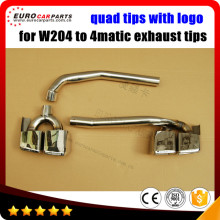 W204 muffler tips for MB C-Class W204  one side exhaust system to both sides look quad C63 tips with logo