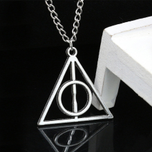Deathly Hallows Charms Pendant Necklaces Unisex Movie Trendy Triangle Long Chain Necklace Fashion Men Women Alloy Jewelry