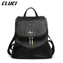 CLUCI Women's Backpacks Real Genuine Leather Fashion Black/Pink/Beige/Grey/Purple Alligator Pattern Casual Women's Daypacks Bags