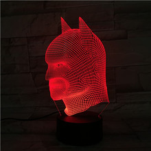 7 Colors Led Toys Batman Figure 3D Table Lamp Action Figures Batman Arkham Knight The Avengers Party DC Comics The Joker Mask