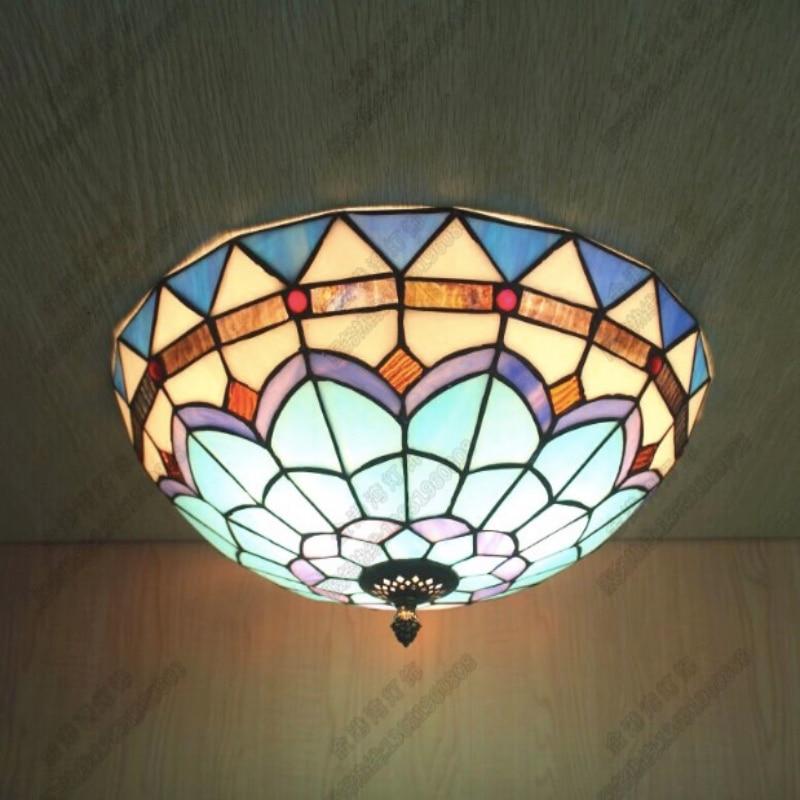 100% Handmade Exotic Tiffany Blue Glass E27 Ceiling Light for Living Room Balcony Aisle Bedroom Decor Lamps Dia 30/40/50cm 1639<br><br>Aliexpress