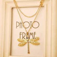FAMSHIN free shipping ($0.75 1pcs)New fashion star models retro hollow dragonfly wings necklace female clothing chain(China)