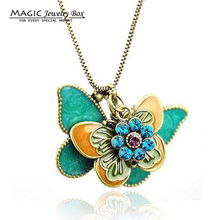 Buy New Fashion Crystal Enamel Butterfly Pendant Necklace Women Vintage Gold Chain Rhinestone Animal Necklace Female Jewelry for $1.38 in AliExpress store