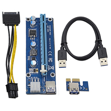 2017 Professional 0.6M PCI-E 1X to 16X Riser Card PCI Express Extender + USB 3.0 Cable & 15Pin SATA to 6Pin Molex Power Supply
