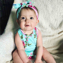 PPY-285 Peony Prints Baby Romper Vintage Baby Girls playsuit Floral printes Baby Swag Rompers with Headband baby girl clothes(China)