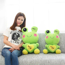 2017 New Arrival Cartoon Toy Frogs Doll Soft Love Frog Pillow Cushion Stuffed Animal Plush Doll Toys Kawaii Brinquedos(China)