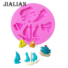 DIY Pirate Ship Silicone Molds Sails Fondant Chocolate Cake Decorating Tools Clay Candy kitchen baking Mold T0602(China)