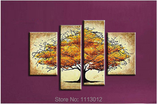 Hot Fashion Abstract Artwork Yellow Apple Love Tree Oil Painting 4 Panel Arts Set Home Decor Modern Wall Picture For Living Room