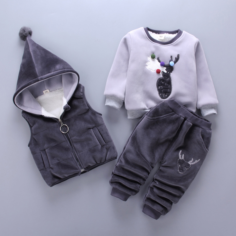 Baby Girl Winter Clothes Cute Deer Thickenin Hooded Vest + Long Sleeved Tops + Pants Christmas Outfits Kids Bebes Jogging Suits<br>