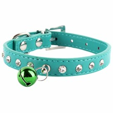 8 Colors Wide Rhinestone Diamante Cat Collar with safety buckle bell Suede Leather PU Dog Puppy Cat Collars Kitten Lead Necklace
