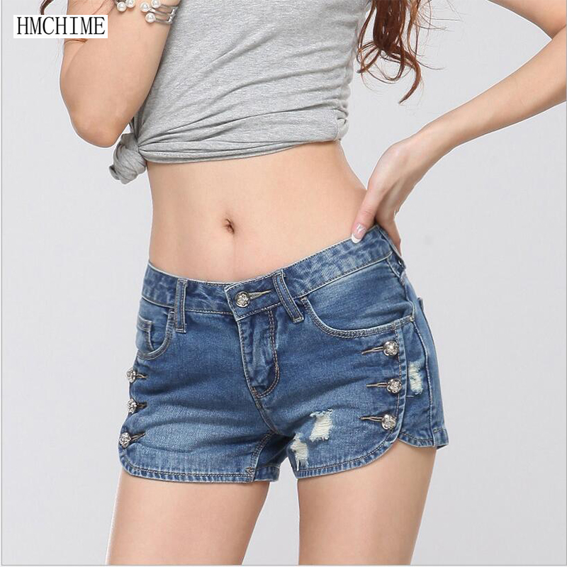 Korean style women cotton denim shorts fashion sexy dovetail design zippers ripped bleached blue color short jeans girls G45Одежда и ак�е��уары<br><br><br>Aliexpress