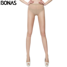 BONAS Plus Size Tights Women Black Pantyhose Nylon Waist Design Girl Summer Style Solid Color Style Spandex Thin Sexy(China)
