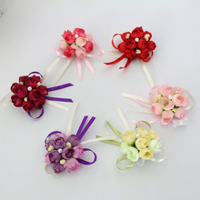 1Pcs Wrist Flower Rose Silk Ribbon Bride Corsage Hand Flower Decorative Wristband Bracelet Bridesmaid Curtain Band Clip Bouquet