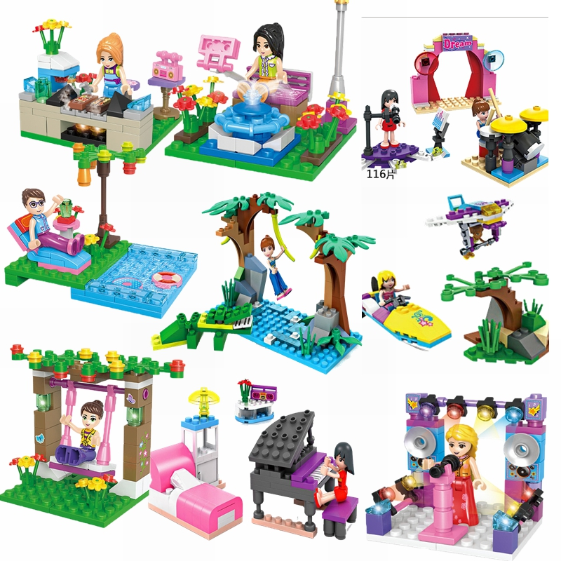 Single Sales Friends Series Fountain Girl Pool Girl Swing Girl Bar Girl Model Friends Children Educational Building Blocks  Toys