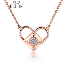 HELON Three Unique Style Natural SI/H Diamonds Lock Heart Necklace Pendant Engagement Wedding Fine Jewelry Solid 18K Rose Gold(China)