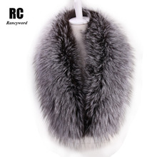 [Rancyword] Wholesale 100% Real Fox Fur Collar Scarf Women Natural Fur Scarf High Quality Genuine Fur Collar For Women RC1263(China)