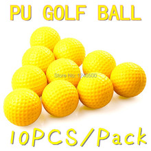 Free Shipping 10pcs/bag Soft Indoor Practice PU Yellow Golf Balls Training Aid Drop Shipping Wholesale(China)