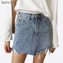 Buy ROPALIA Summer Jeans Skirt Women High Waist Jupe Irregular Edges Denim Skirts Female Mini Skirts Faldas Casual Pencil Skirt for $13.31 in AliExpress store