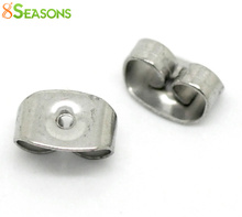 "8SEASONS Stainless Steel Earring Findings Ear Nuts Post Backs Silver Tone 7mmx4mm( 2/8""x 1/8""),50 Pairs"