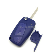 5pcs/lot Blue color 3 Buttons battery holder on side Flip Remote Key Case Shell for Fiat with logo