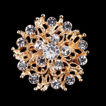 6 Pieces Wholesale Gold-color and clear crystal diamante flower small zinc alloy brooch broches pins in assorted