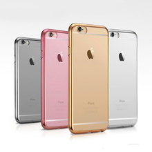 For iPhone 5 5s SE 6 6s 7 Plus Luxury Ultra Thin Clear Crystal Rubber Plating Electroplating TPU Phone Back Case Cover Coque