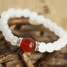 2017 New Summer High quality Onyx Natural White Chalcedony Bracelets & Bangle for Women Fashion 7MM Beads Jewelry Wholesale(China)