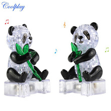 Coolplay 3D Puzzles DIY Crystal Puzzles 58pcs Cute Panda model With flash Educational Toys for children playmobil Panda puzzles