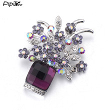 Pipitree Elegant Shiny Rhinestone Crystal Women Brooch Bouquet Flower Brooches Pins for Wedding Party Gift Luxury Accessories(China)
