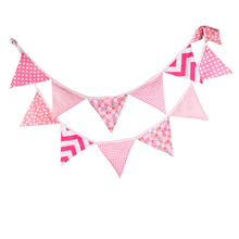 12 Flags 3.2m Double-sided Printed Polyester Cloth Decoration Pink Flag Banner Pennant For Wedding/Birthday Party Decor