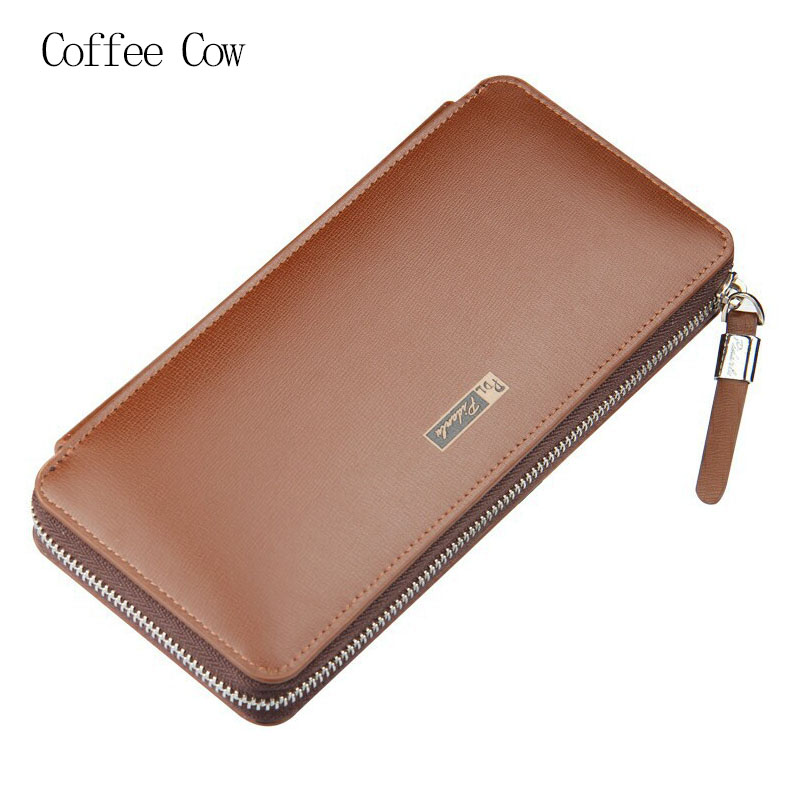 2016 New Brand Business Men Long Wallet Genuine Leather Zipper Large Capacity Purse Males Multi-function Solid Color Clutch Bag<br><br>Aliexpress