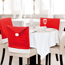 4Pcs/Lot Merry Chiristmas Santa Clause Red Hat Chair Back Cover Seat Cover Dinner Table Party Indoor Christmas Decor