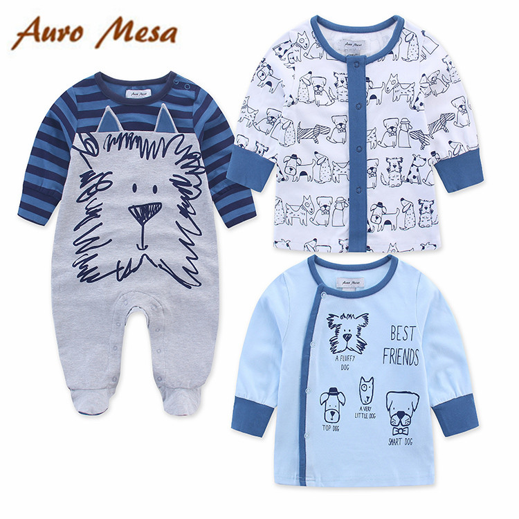 2017 Spring Baby Boy Outfit 100%Cotton Romper With 2pcs Coat Infant Boys Clothes<br>