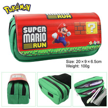 Super Mario Bros Fabric Stationery Pencil Case ,20*9*6.5cm Cartoon Anime Double Zipper School Pencil Bag Kids Gift(China)