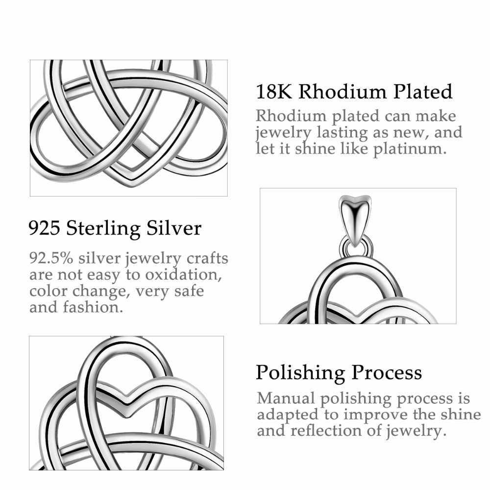 Angel Caller 925 Sterling Silver Celtics Love Knot Pendant Necklaces&Earring Good Luck Love Heart Wedding Jewelry Sets For Women
