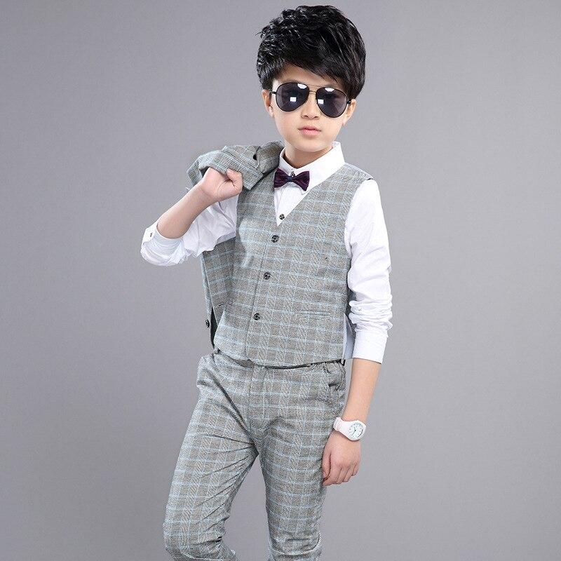 3 pcs sets boys clothing sets gentleman spring autumn 2017 teenage little boys suits grey plaid coats vest pants boy clothes set<br><br>Aliexpress