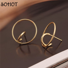 SOHOT Unique Design Round Stud Earrings Minimalist Punk Modern Wedding Jewelry for Ladies
