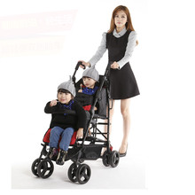 Hot Sell Twins Baby Stroller Double Seat Portable Folding Baby Car High Landscape Pram Twins Shockproof Twins Stroller