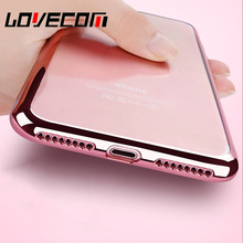 LOVECOM Transparent Electroplate Soft TPU Phone Case For iPhone 5 5S SE 6 6S 7 8 Plus X Hot Mobile Phone Bags & Cover Cases Red(China)