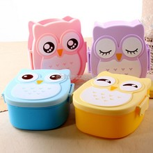 Owl Portable Bento Plastic Cute Cartoon Food Fruit Storage Container box(China)