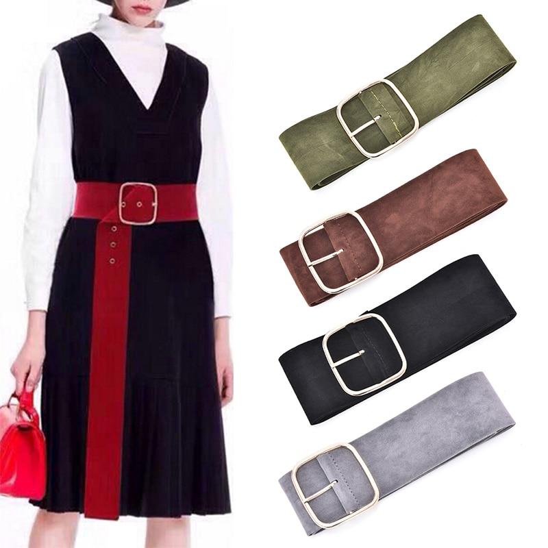 New Women Wide Soft Strap Belts Down Coat Long Gold Pin Buckle Sweater Bundle Waist Skirt Waistband Velvet Belt 6 Colors