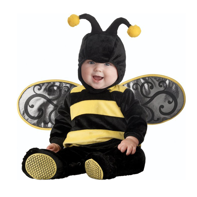 Cute Bee Shape Baby Rompers Newborn Clothes Girls Boys Clothes Cartoon Stripe Print Baby Romper Newborn Halloween Jumpsuits<br>