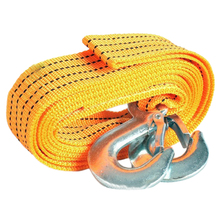 4m 3 Tons Auto Car Nylon Webbing Tow Strap Belt Trailer Rope with 2 Forged Steel Self-locking Hooks Travel Tool