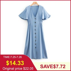 Tangada летнее платье голубое платье платье на пуговицах платье длина миди платье ниже колена объемные рукава платье с рукавами фонариками V-об...