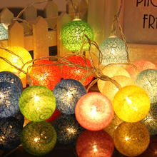 10Leds Christmas Holiday lights cotton ball led Light string fairy garland 1.2M 5 Series Christmas wedding Decoration Warm white(China)