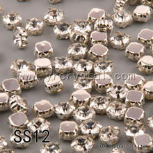 SS12 3mm 1440pcs Clear Crystal Sew on Rhinestones Claw